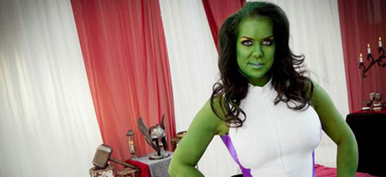 Chyna in she hulk green bodypaint for avengers porn
