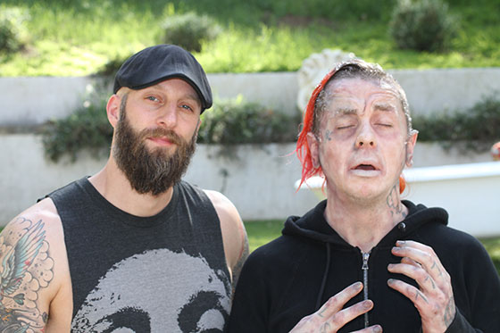 Director-Erik-Boccio-with-actorSlipknot-DJ-Sid-WIlson-in-frozen-FX-make-up-by-Laney-Chantal-on-set-of-Blood-Bath