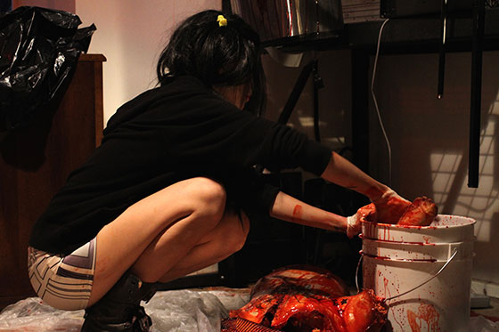 FX-artist-Laney-Chantal-preps-FX-body-parts-on-set-of-Blood-Bath-from-Deathaus-Films