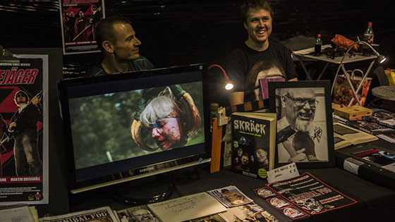 "Weekend of Hell Germany 2015 Kim Sønderholm from ""CANNIBAL FOG"" and director Gustav Ljungdahl ""YELLOW PIG PICTURES"" at the booth of DINO PUBLISHING JW"