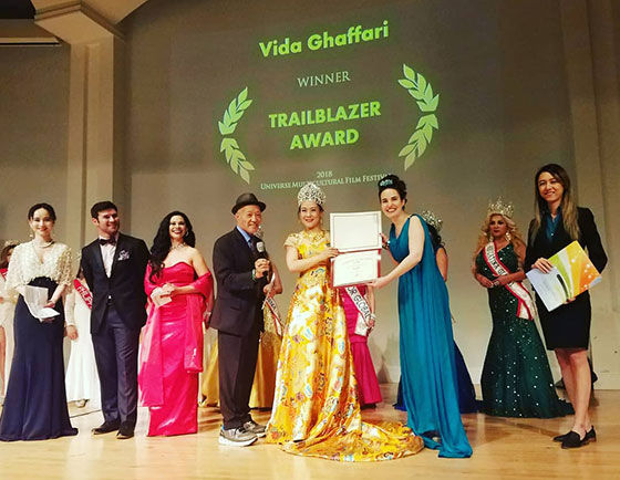 Vida getting the Trailblazer Award at the Universe Multicultural Film Festival (UMFF)